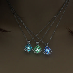 Luminous Glowing In The Dark Moon Lotus Flower Necklace