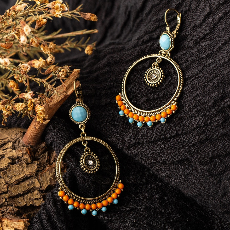 Ethnic Round Beads Earrings