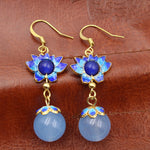 Cloisonne lotus earrings