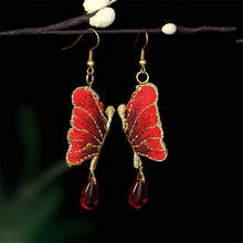 Load image into Gallery viewer, Ethnic Embroidery Butterfly Earrings