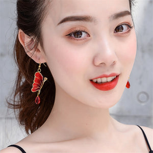 Ethnic Embroidery Butterfly Earrings