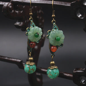 Glass Glazed Flower Drop Earrings