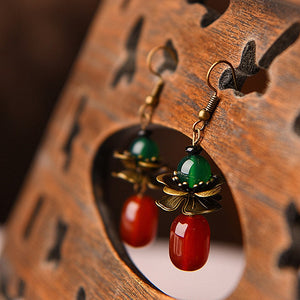 Red Green Stone Earrings