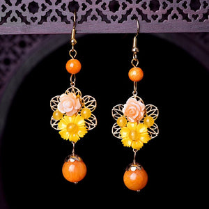 Vintage Alloy Resin Flower Earring