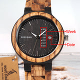 BOBO BIRD Two-tone Wooden Watch for Men with Week Date Display