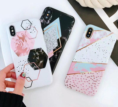 Candy Color Marble Phone Case For iphone X 6S 6 7 8 Plus