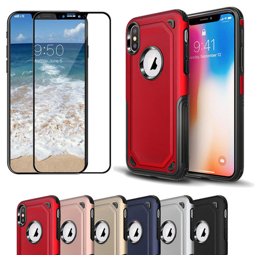 Carbon Fiber Armor Case +Tempered Glass Screen Protector Dual Layer Rubber Hard PC Shockproof Cover For Apple iPhone X 7 8 Plus