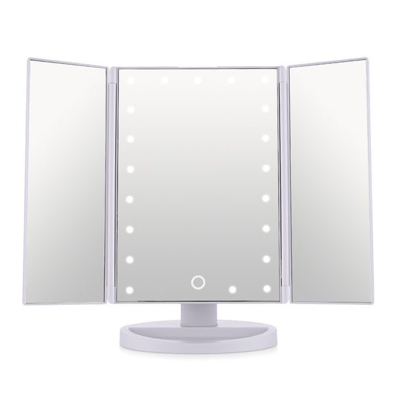 21 Super Bright LED Touch Screen Tri-Fold Illuminated Makeup Mirror