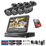 4CH 720P Indoor Outdoor Security Cameras System with 10.1 inch Monitor
