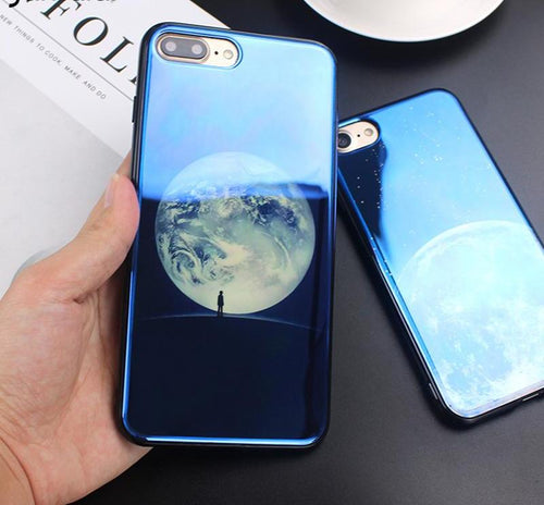 Electroplate Blue Moon Planet Space Silicone Case Soft Phone Cover for iPhone X 6 6s 7 8