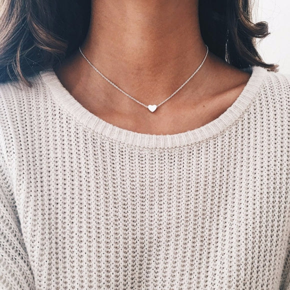 Tiny Heart Choker Love Necklace Gold Silver