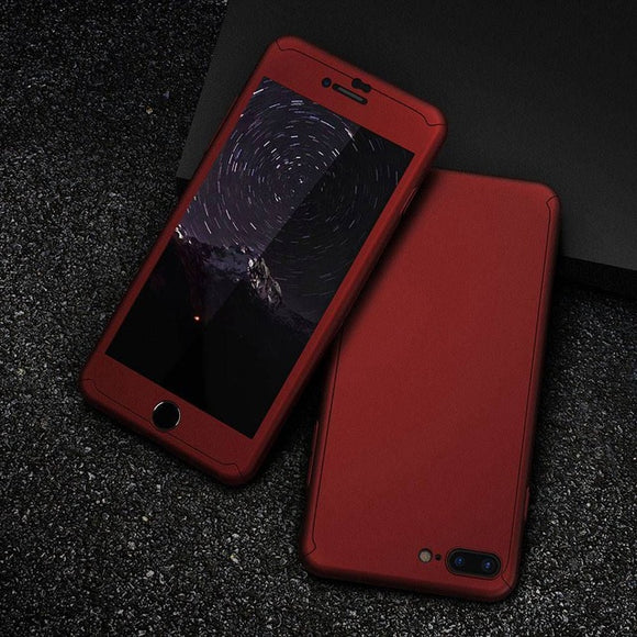 360 Protective Case For iPhone 6 6S 7 8 Plus 5 5S SE X Glass Front Back Cover For iPhone X 8 7 6S Full Coverage Shells