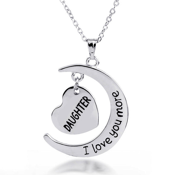 Daughter I Love You More Heart And Moon Pendant Necklace