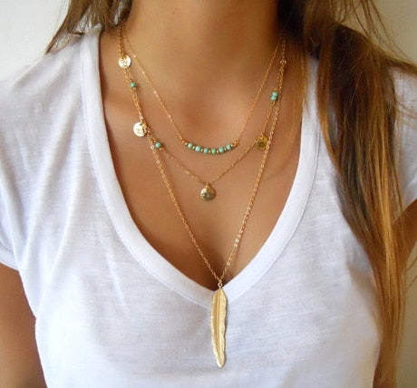 Boho Gold Multilayer Pendant Necklaces - Coin Tassels Lariat Bar Beads Choker Feather