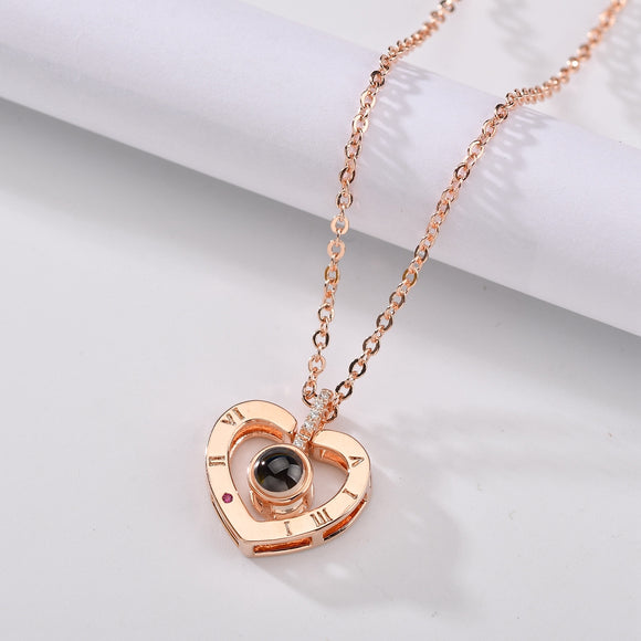 100 Languages I Love You Projection Heart Pendant Necklace - Rose Gold & Silver