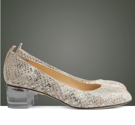 Dire in leather snake print and acrylic heel
