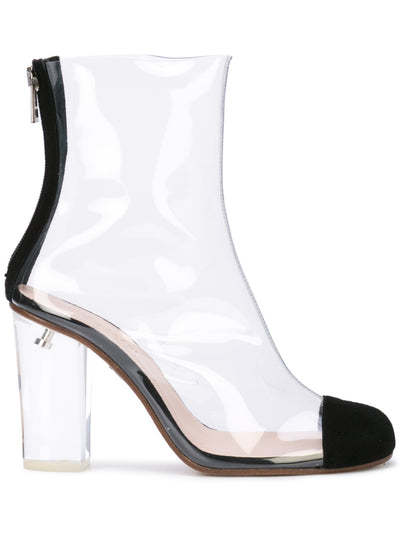 Barbarella boot with black suede toe cap & acrylic heel. Profile View