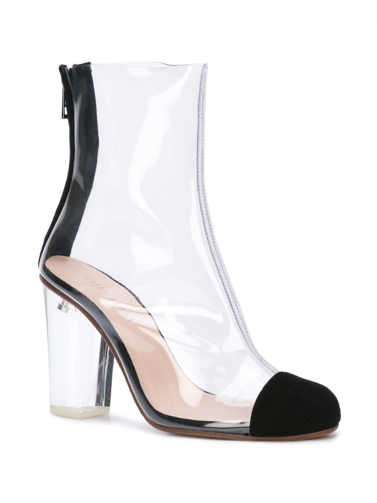 Barbarella boot with black suede toe cap & acrylic heel. Front Angle View