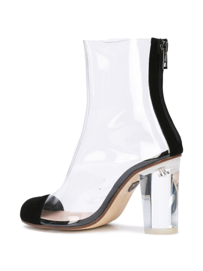 Barbarella boot with black suede toe cap & acrylic heel. Back Angle View