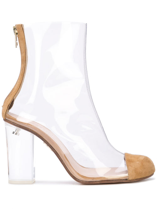 Barbarella boot with tan suede toe cap & acrylic heel. Profile View