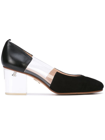 Casablanca black suede pump with pvc insert, acrylic heel grosgrain heel tab. Profile View