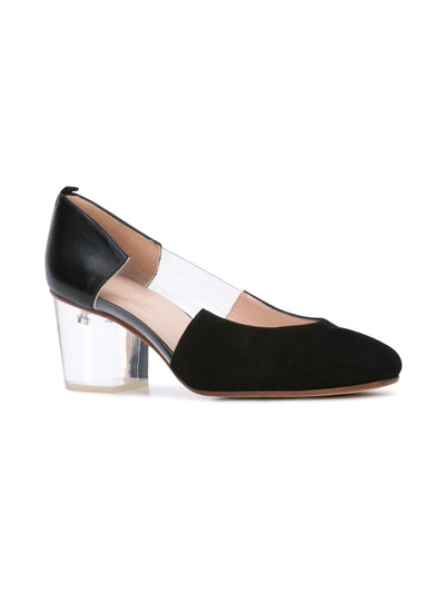 Casablanca black suede pump with pvc insert, acrylic heel grosgrain heel tab. Front Angle View