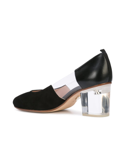 Casablanca black suede pump with pvc insert, acrylic heel grosgrain heel tab. Back Angle View