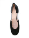 Casablanca black suede pump with pvc insert, acrylic heel grosgrain heel tab. Top View