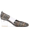 Casablanca tweed pump with pvc insert, acrylic heel grosgrain heel tab. Profile View