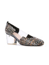 Casablanca tweed pump with pvc insert, acrylic heel grosgrain heel tab. Front Angle View