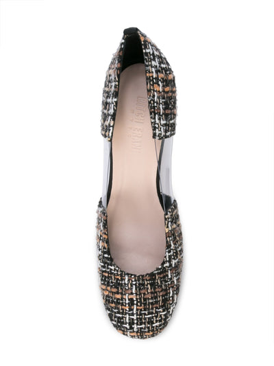 Casablanca tweed pump with pvc insert, acrylic heel grosgrain heel tab. Top View