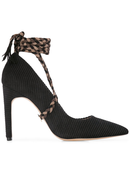 Cleopatra Pump - Black corduroy with removable suede wraps. Profile View