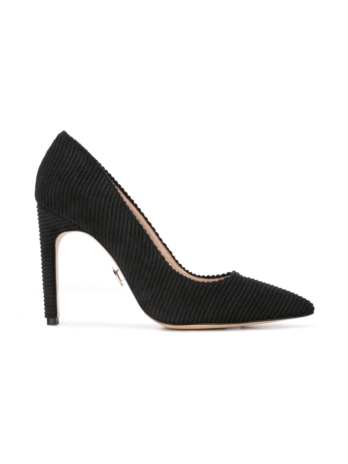 Cleopatra Pump - Black corduroy without wraps. Profile View