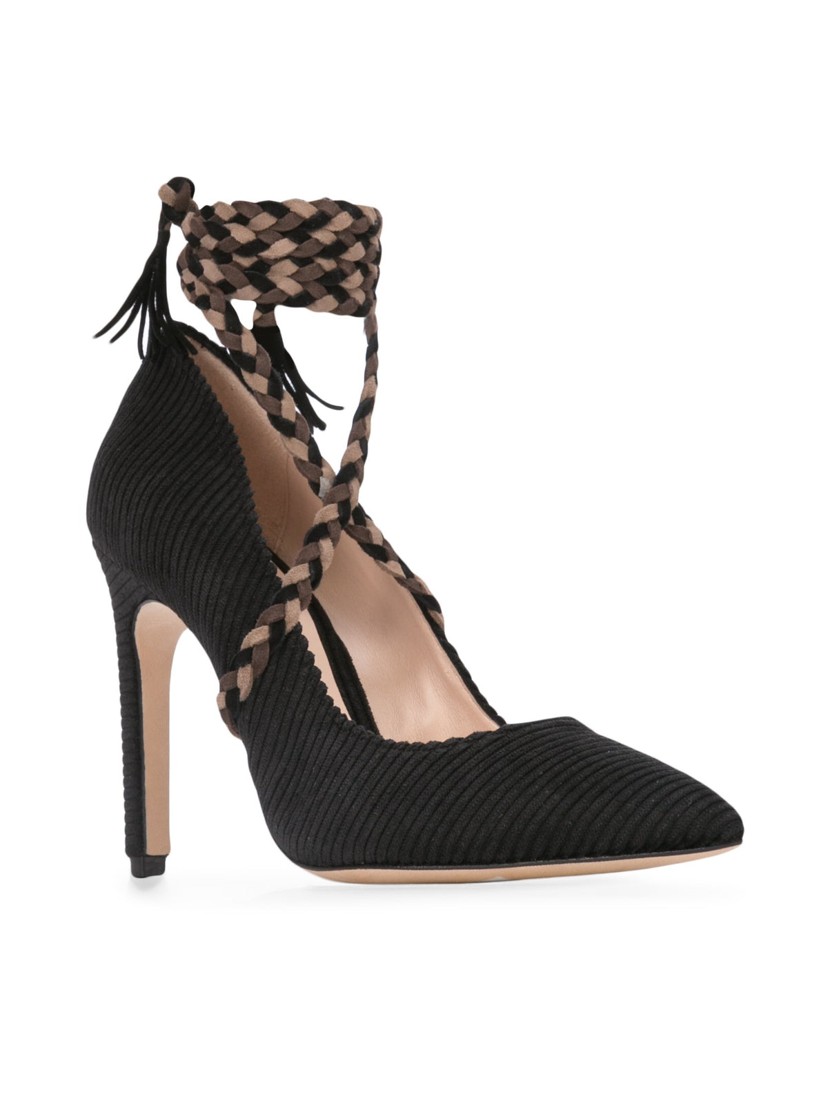 Cleopatra Pump - Black corduroy with removable suede wraps. Front Angle View