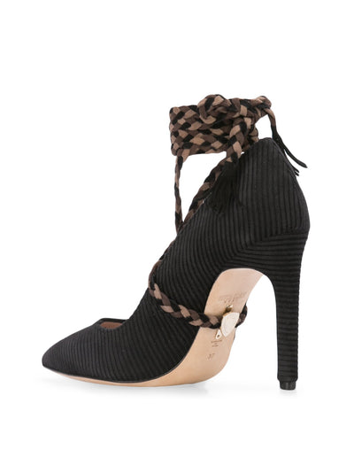 Cleopatra Pump - Black corduroy with removable suede wraps. Back Angle View