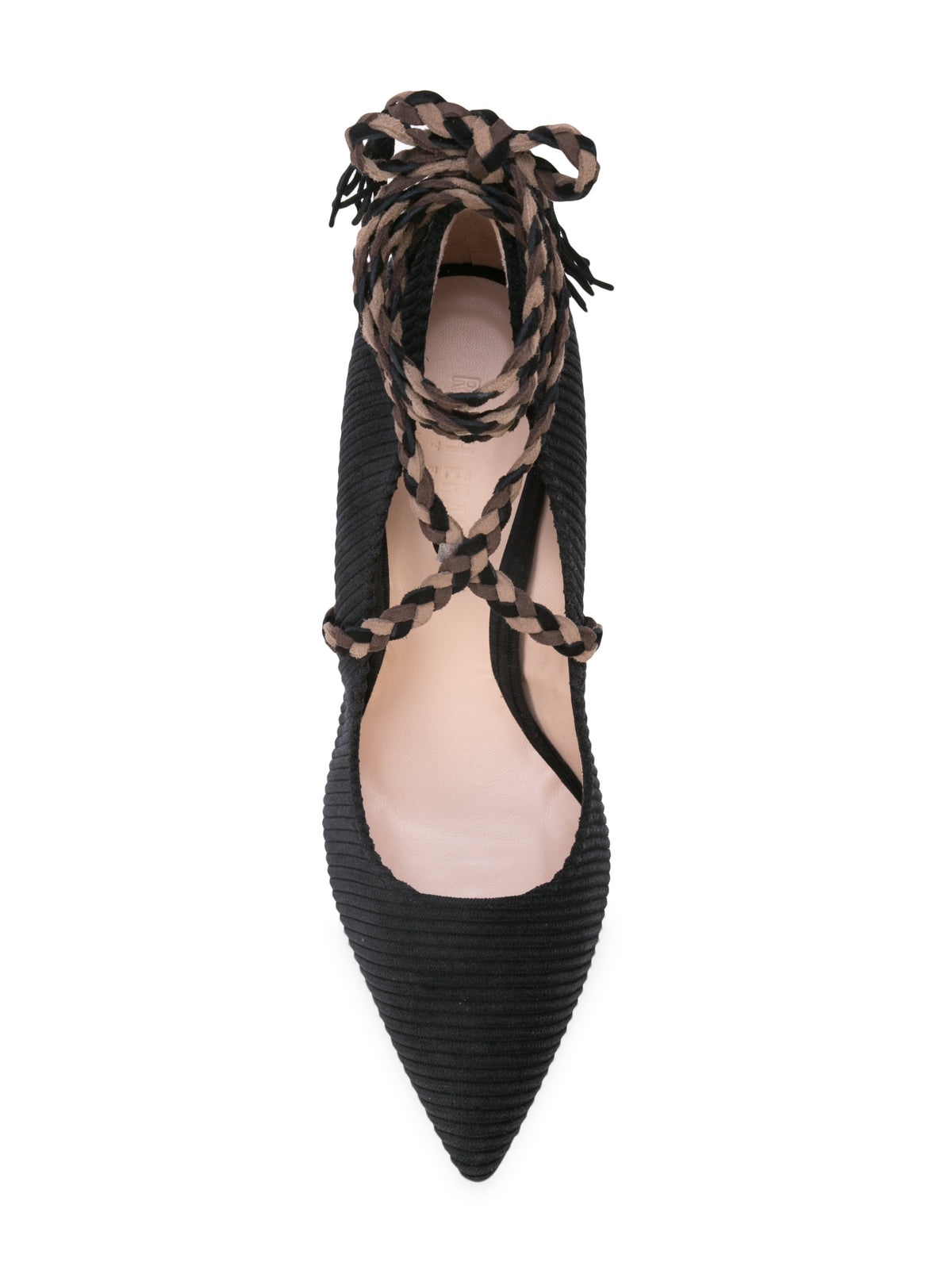 Cleopatra Pump - Black corduroy with removable suede wraps. Top View