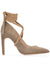 Cleopatra Pump - Taupe corduroy with removable suede wraps. Profile View