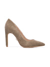Cleopatra Pump - Taupe corduroy without suede wraps. Profile View