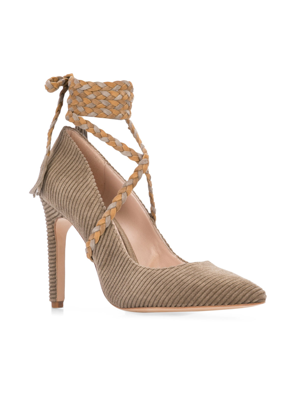 Cleopatra Pump - Taupe corduroy with removable suede wraps. Front Angle View