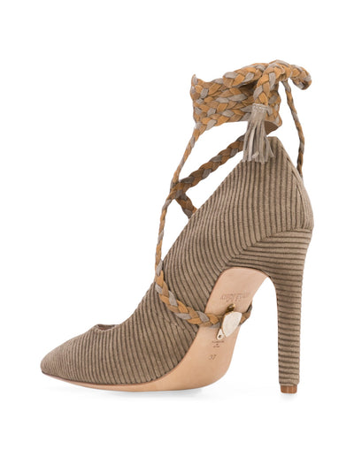 Cleopatra Pump - Taupe corduroy with removable suede wraps. Bank Angle View