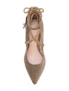 Cleopatra Pump - Taupe corduroy with removable suede wraps. Top View