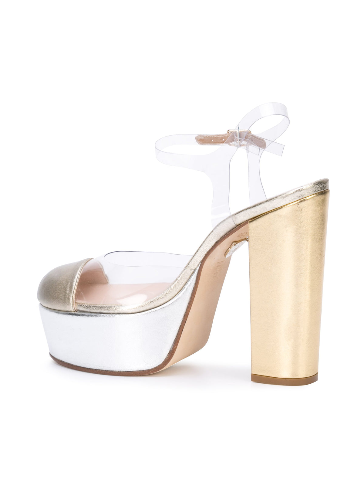 Gilda Platform - Gold & silver metallic leather and pvc with platform. Back Angle View
