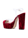 Gilda Platform - Cranberry crushed and pvc with platform. Back Angle View