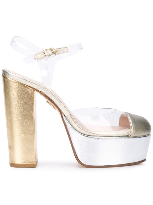 Gilda Platform - Gold & silver metallic leather and pvc with platform. Profile View