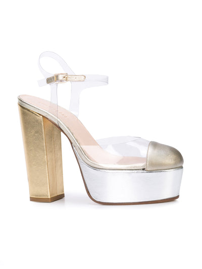 Gilda Platform - Gold & silver metallic leather and pvc with platform. Front Angle View