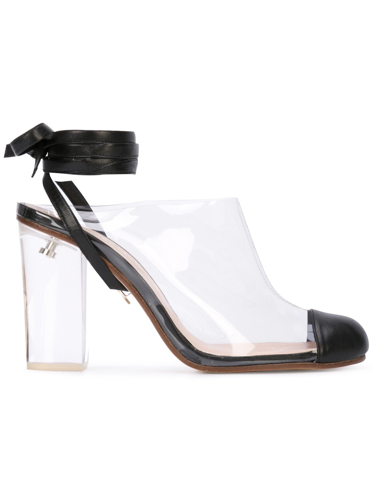 Grease Mule - Pvc and black nappa leather mule, acrylic heel and removable wraps. Profile View