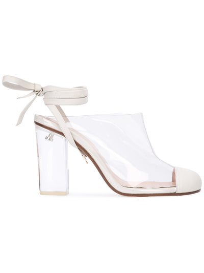 Grease Mule - Pvc and white nappa leather mule, acrylic heel and removable wraps. Profile View