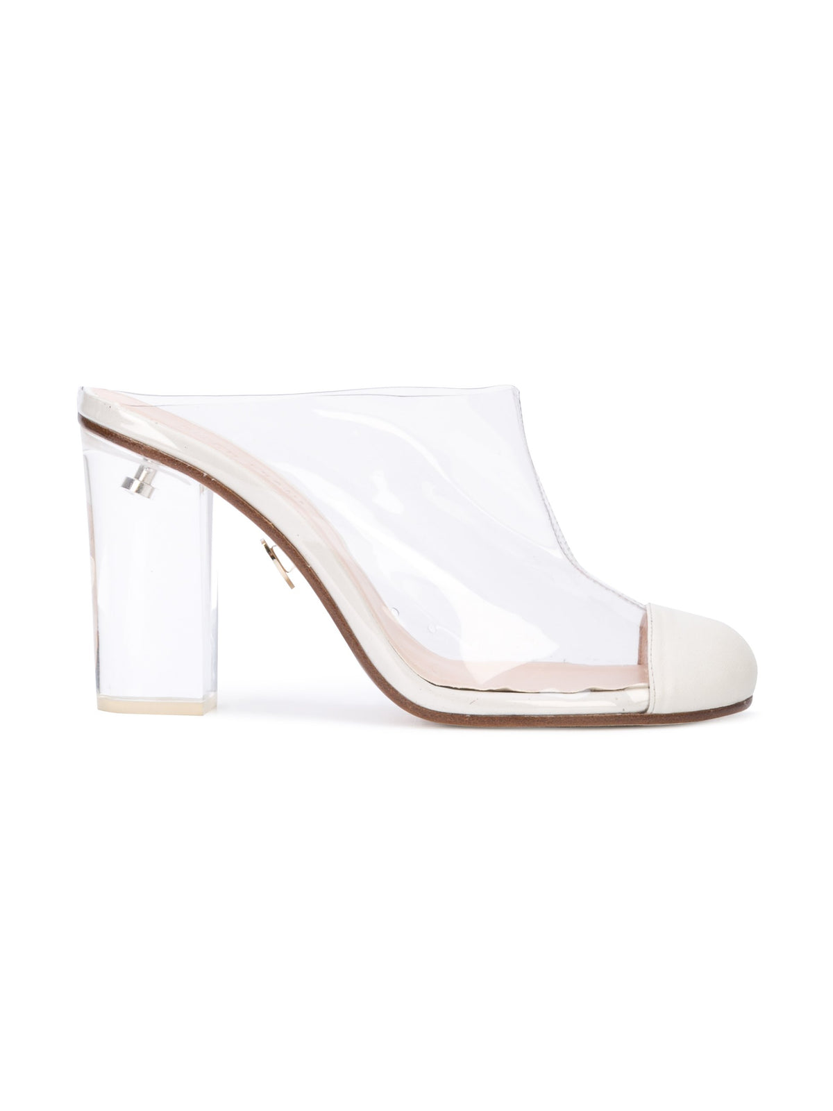Grease Mule - Pvc and white nappa leather mule, acrylic heel without wraps. Profile View