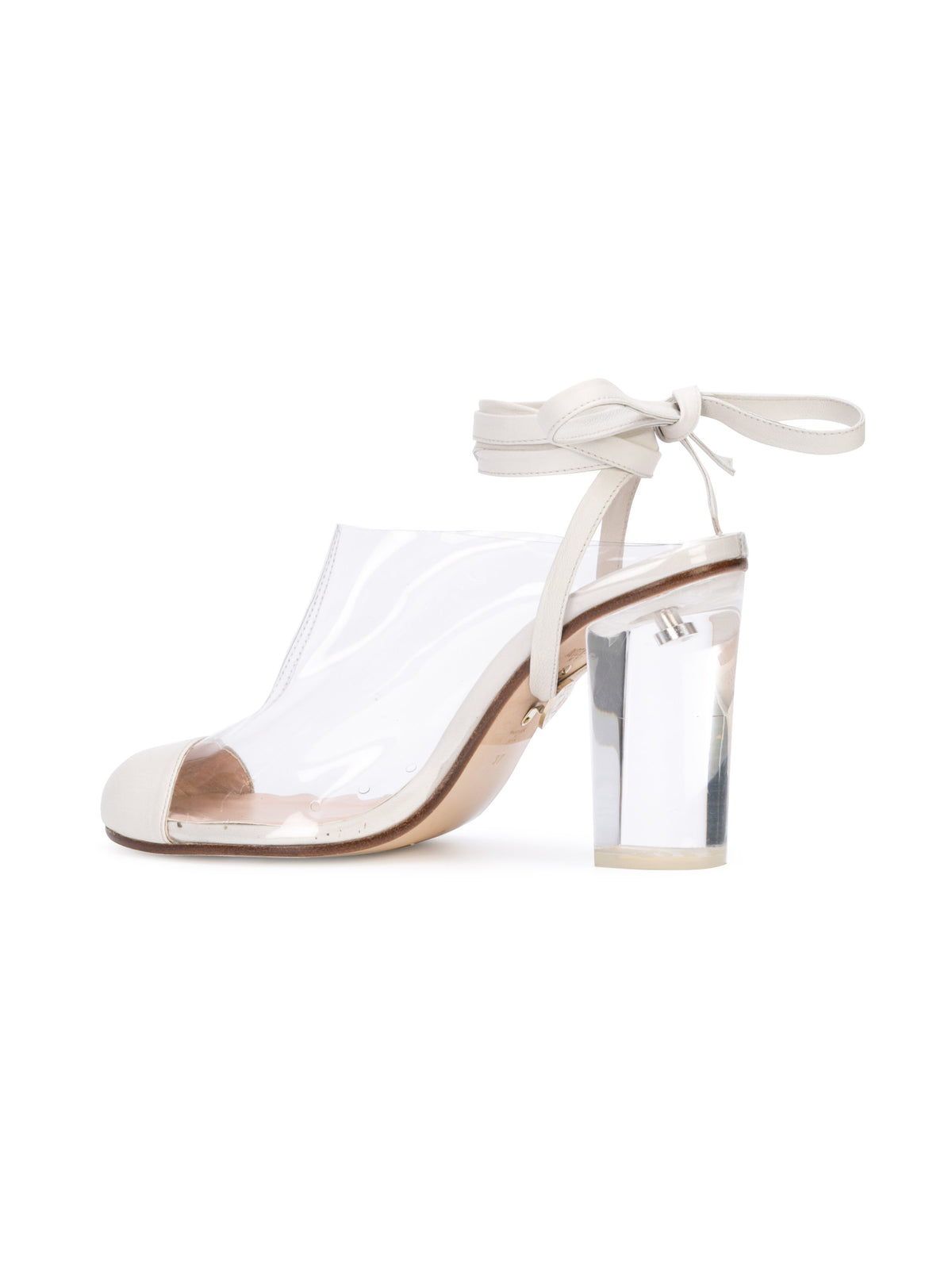 Grease Mule - Pvc and white nappa leather mule, acrylic heel and removable wraps. Back Angle View