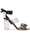 Sabrina Sandal - Faux fur with pvc, acrylic heel and removable wraps. Profile View